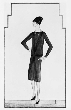 Esboç de little black dress dibuixat per Coco Chanel